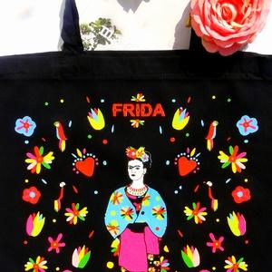 \' Frida\' táska -fekete bevásárló/shoppingtáska /shopper , Táska, Táska, Divat & Szépség, Válltáska, oldaltáska, Szatyor, NoWaste, Varrás, Új dizájnunkkal készült válltáska amit Frida Kahlo ihletett. Frida Kahlo karakteres, ma is ható, kül..., Meska