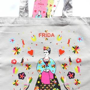\' Frida\' hamuszürke bevásárló/shoppingtáska /shopper , Shopper, textiltáska, szatyor, Bevásárlás & Shopper táska, Táska & Tok, Varrás, Új dizájnunkkal készült válltáska amit Frida Kahlo ihletett. Frida Kahlo karakteres, ma is ható, kül..., Meska