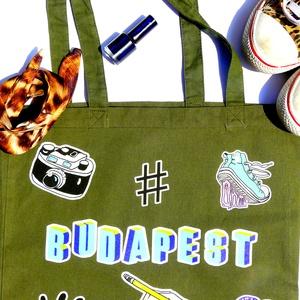 ÚJ ! \' Budapest\' táska \'Stickers\' sorozat-oliva zöld bevásárlótáska/shoppingtáska /shopper , Táska, Táska, Divat & Szépség, Válltáska, oldaltáska, Szatyor, NoWaste, Varrás, Fotó, grafika, rajz, illusztráció, Új dizájnunkkal készült válltáska amit a matricák, és a Budapesti street art ihletett. Kirobbanó szí..., Meska