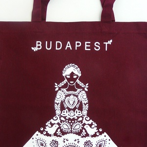 ÚJ színek ! 'Menyecske' -Budapest shoppingoló, bevásárló táska- burgundi, NoWaste, Táska, Divat & Szépség, Elkészült sok sok érlelés után a legújabb mintám. Összeválogattam a kedvenc motívumaimat és szimbólu..., Meska