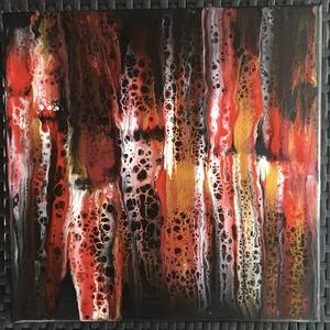 Vörös ès Fekete vászon kép, Otthon & lakás, Dekoráció, Kép, Lakberendezés, Falikép, Képzőművészet, Festmény, Akril, Festészet, 30 x30 cm, fluid paint technikával feszített vászonra készült falikép. Langyos vizes ruhával törölhe..., Meska