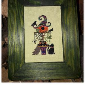 Keresztszemes minta Halloween / Cross stitch pattern Halloween, DIY (leírások), Szabásminta, útmutató, Hímzés, Mindenmás, Egyedi tervezésű keresztszemes minta.\n\nAnyag: Zweigart pamut hímzővászon 25ct.\nA minta mérete: 70x10..., Meska