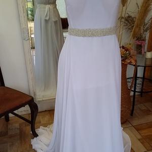gyöngyös menyasszonyi ruha, Esküvő, Ruha, Menyasszonyi ruha, Varrás, Muszlin menyasszonyi ruha 36-38 méretben,kézzel gyöngyözött övvel,hátát csipkével díszítve,mely szin..., Meska
