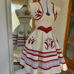 tulipános ruha, Esküvő, Ruha, Menyasszonyi ruha, Hímzés, Varrás, Kézzel hímzett,menyasszonyi,vagy menyecske ruha,hossza lehet földig érő is.Boleró nélkül is rendelhe..., Meska