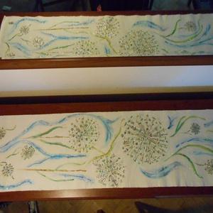 Hagymavirág kék fellegekkel, kézzel  festett egyedi terítő. (Fiffancsi) - Meska.hu