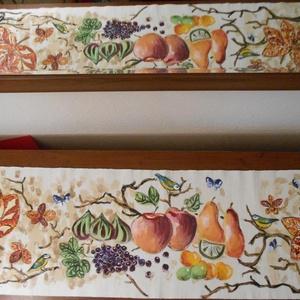 Gyümölcsöskert kézzel festett terítő, Képzőművészet, Otthon & lakás, Textil, Festmény, Festészet, Festett tárgyak, Gíümölcsös kert,gyönyörű egyedi kézzel festett terítő.Csodálatosan szín gazdag romantikus darab. A l..., Meska