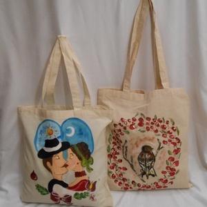 Csíz , szerelmem , kézzel festett ajándék és bevásárló táska, Táska & Tok, Bevásárlás & Shopper táska, Shopper, textiltáska, szatyor, Két gyönyörű ajándék és bevásárló táska.Ajándék csomagolóként is használhatod, így ajándékozottad to..., Meska
