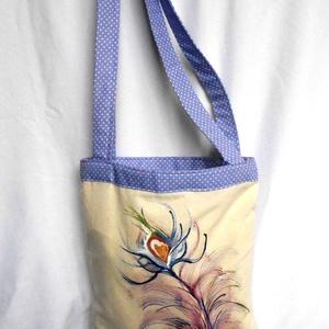 Pávatoll bevásárló táska, Táska & Tok, Bevásárlás & Shopper táska, Shopper, textiltáska, szatyor, Egyedi kézzel festett bevásárló táska .A pávatoll az egyik kedvenc motívumom .Tavaszköszöntőkén eljá..., Meska