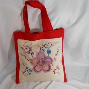 Lila cseresznyevirágok 2.Kézzel festett  egyedi táska, Táska, Táska, Divat & Szépség, Válltáska, oldaltáska, Szatyor, Varrás, Festészet, Amint ígértem , cseresznyevirágos téma második darabját van szerencsém bemutatni.Itt az alapom egy n..., Meska