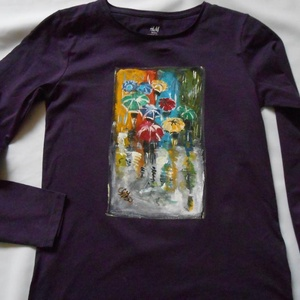 Párizs esőben kézzel festett póló PÓLÓIMAT RENDELŐIM HOZZÁK!, Ruha & Divat, Babaruha & Gyerekruha, Póló, FIGYELEM!PÓLÓIMAT RENDELŐIM HOZZÁK , AZ ÁR CSAK A FESTÉSRE VONATKOZIK! Párizs  az esőben a nyolcvana..., Meska