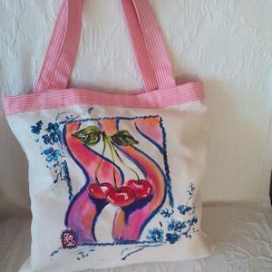 Nyári cseresznyéskert kézzel festett bevás?rlót?ska, Shopper, textiltáska, szatyor, Bevásárlás & Shopper táska, Táska & Tok, Festészet, Festett tárgyak, Cseresznyéskettek boldogsága a rigók csodálatos dala ihlette ,ezt a kedves táskát.Belecsempésztem eg..., Meska