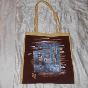 Labirintus bevásárló kézzel festett bevásárló táska, Táska, Táska, Divat & Szépség, Szatyor, Tarisznya, Festészet, Festett tárgyak, Labirintus kézzel festett egyedi kézzel festett bevásárló , ajándék táska. Gyönyörű glamur csillogás..., Meska