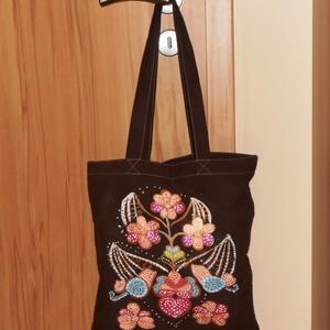 Életfa kézzel festett ajándék és bevásárló táska, Táska & Tok, Bevásárlás & Shopper táska, Életfa kézzel festett ajándék és bevásárló táska. Népi motívumok tematikája ihlette . A táskát varrá..., Meska