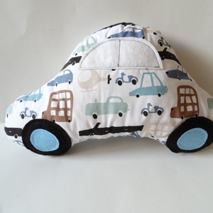 Autó formájú párna - Járműves autó párna - Autós díszpárna - Autó párna - Textiljáték - Textilfigura , Otthon & lakás, Lakberendezés, Lakástextil, Párna, Varrás, Puha, ölelgetni való párnát készítettem babáknak, gyerekeknek. Autós pamutvászon anyagból készült, f..., Meska