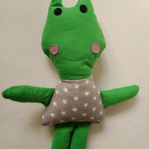 Béka figura - textil béka - puha breki - béka állatfigura - plüss béka béka játék mozgatható kezekkel /lábakkal, Gyerek & játék, Gyerekszoba, Játék, Játékfigura, Plüssállat, rongyjáték, Varrás, Puha béka figurát készítettem pamutvászon anyagból. Arca és szeme filc anyagból készült. Puha poliés..., Meska