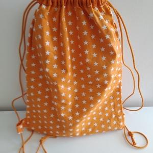 Csillagos hátizsák - Csillagos tornazsák - Bélelt hátizsák - Bélelt tornazsák - csillagos textil táska, Gymbag, Hátizsák, Táska & Tok, Varrás, Csillagos pamutvászon anyagból készült ez a hátizsák vagy tornazsák. Bélése narancssárga pamut anyag..., Meska