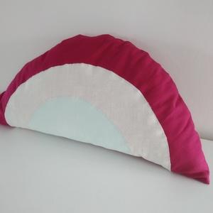 Szivárvány párna - lányos színű szivárvány - pasztell színű - szivárványos párna - szivárvány forma párna, Otthon & lakás, Dekoráció, Lakberendezés, Lakástextil, Párna, Gyerek & játék, Gyerekszoba, Varrás, Lányos színekben készítettem ezt a puha szivárvány párnát.  \nPamut anyagokból, puha poliészterrel tö..., Meska
