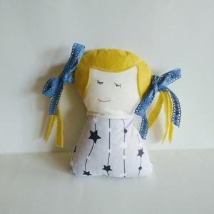 Szőke Tündérlány - Csillaglány - kislány tündér baba - copfos angyal baba - rongybaba - textil baba - hosszú hajú baba, Baba, Baba & babaház, Játék & Gyerek, Baba-és bábkészítés, 20 cm magas, puha textil baba. Pamut vászon anyagból készült, haja filc, csipke szalag díszíti. A sz..., Meska