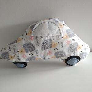 Autó formájú párna - sünis autó párna - Autós díszpárna - Autó párna - Textiljáték - Textilfigura - süni mintás, Játék & Gyerek, Plüssállat & Játékfigura, Autó & Motor, Varrás, Puha, ölelgetni való párnát készítettem babáknak, gyerekeknek. Pamutvászon anyagból készült, filc ap..., Meska