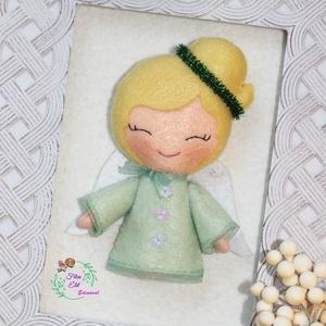 Angyalka pasztellben, Otthon & Lakás, Karácsony & Mikulás, Karácsonyfadísz, Hímzés, Varrás, Csupa mosoly felakasztható kis Angyalka pasztell zöld ruhában. Szőke copfjára zöld csillogó fejdíszt..., Meska
