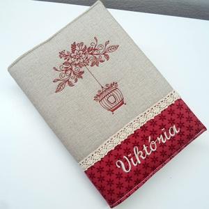 Vintage, madárkalitkás napló, Jegyzetfüzet & Napló, Papír írószer, Otthon & Lakás, Varrás, Patchwork, foltvarrás, Bordó-bézs színvilágú napló. . A minta és név felirat gépi hímzéssel készült. \n\nPamut csipkével szal..., Meska