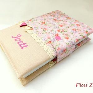 Rózsás vintage jegyzetfüzet- pamut napló, Otthon & Lakás, Papír írószer, Jegyzetfüzet & Napló, Varrás, Patchwork, foltvarrás, Rózsás designer pamut anyagból varrtam ezt a naplót. Gépi hímzéssel név is kérhető rá, az ár ezt már..., Meska