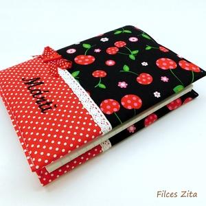 Cseresznyés recepteskönyv  -  textil receptes füzet , Otthon & Lakás, Konyhafelszerelés, Receptfüzet, Cseresznyés  amerikai pamut anyagból készítettem ezt a receptes könyvet.  Pamut csipkével, szalaggal..., Meska