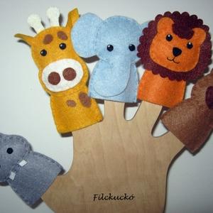 Filc ujjbáb csomag -  Állatkerti cimborák 2., Gyerek & játék, Játék, Báb, Játékfigura, Baba-és bábkészítés, Varrás, 5 db-os környezetbarát filcből- kézzel készített ujjbáb csomag.\nKitűnő játék hosszabb utazásokhoz. K..., Meska