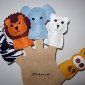 Filc ujjbáb csomag -  Állatkerti cimborák 3., Gyerek & játék, Játék, Báb, Játékfigura, Baba-és bábkészítés, Varrás, 5 db-os környezetbarát filcből- kézzel készített ujjbáb csomag.\nKitűnő játék hosszabb utazásokhoz. K..., Meska