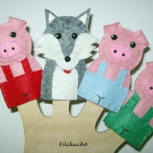 Filc ujjbáb csomag - A 3 kismalac zöld nacis, Báb készlet, Bábok, Játék & Gyerek, Baba-és bábkészítés, Varrás, Ismét egy klasszikus mese bábjai.\nA 3 kis malac és a farkas.\n4 db-os kézzel készített ujjbáb csomag...., Meska