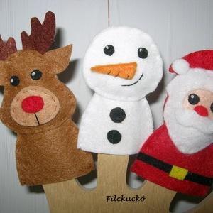 Karácsonyi kedvencek mini ujjbáb csomag, Játék & Gyerek, Bábok, Báb készlet, 3 db-os, kézzel készített ujjbáb csomag. Mikulás, hóember, rénszarvas. Ők a téli ünnepek jelképei és..., Meska