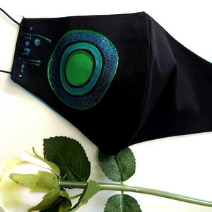 Fiorella maszk kifordítható/ kékzöld, Ékszer, Festett tárgyak, Varrás, Kézzel festett egyedi tervezésű szájmaszk, fiorella stílusban a mindennapokra felnőtt nőknek.\nDupla ..., Meska