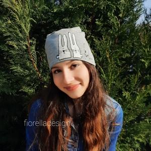 Fiorella kifordítható szürke világoskék SAPKA/ nyuszi - Meska.hu