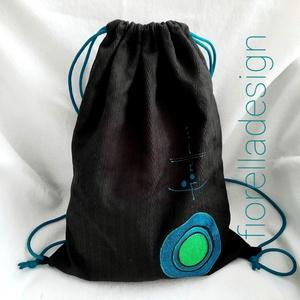 Fiorella hátizsák /fekete kékzöld körös, Táska & Tok, Egyszerű letisztult csillámos mintát festettem erre a textil fiorella hátizsák- tornazsákra.  Tulajd..., Meska