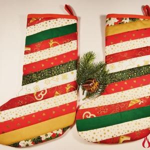 Patchwork mikulás csizma (2db) - tradicionális két különböző színű oldallal, Otthon & lakás, Dekoráció, Ünnepi dekoráció, Karácsonyi, adventi apróságok, Ajándékzsák, Patchwork, foltvarrás, Ezeknek a mikulás csizmáknak biztosan örülni fognak kis és nagyobb gyerekek egyaránt.\n\nA csizmák puh..., Meska