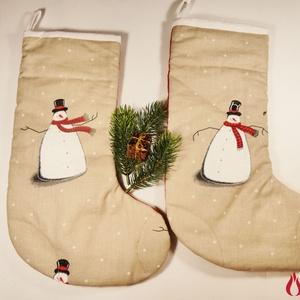 Mikulás csizma (2db) - hóemberes, két különböző színű oldallal, Otthon & lakás, Dekoráció, Ünnepi dekoráció, Karácsony, Ajándékzsák, Patchwork, foltvarrás, Ezeknek a mikulás csizmáknak biztosan örülni fognak kis és nagyobb gyerekek egyaránt. \n\nA csizmák pu..., Meska