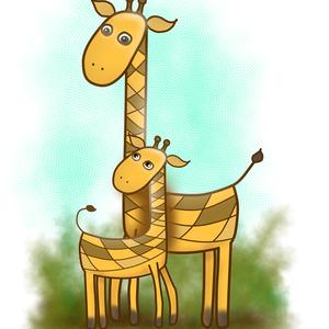 Zsiráfok - Art Print, Grafika & Illusztráció, Művészet, Fotó, grafika, rajz, illusztráció, Láttál már baba zsiráfot téblábolni? Olyan ügyetlen és esetlen. Mintha nem tudná, mit kezdjen a hoss..., Meska