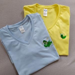 Női hímzett póló, választható felirattal, mintával (FKLencsilany) - Meska.hu
