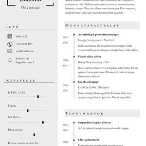 Egyszerű, modern, egyoldalas önéletrajz minta, Fotográfia, Művészet, Fotó, grafika, rajz, illusztráció, Az egyszerű megoldások kedvelőinek egy letisztult dizájn :) \nA4 méretű, egyoldalas\n\nAz alábbiakat ta..., Meska