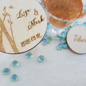 Esküvői köszönőajándék, poháralátét, ültető , Köszönőajándék, Emlék & Ajándék, Esküvő, Famegmunkálás, A poháralátét mindkét oldalára kerül gravírozás. Egyik oldalon a neveitek és az esküvő dátuma, másik..., Meska