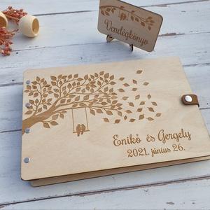 Esküvői vendégkönyv gravírozott fa fedlappal, Vendégkönyv, Emlék & Ajándék, Esküvő, Famegmunkálás, Elegáns, letisztult vendégkönyv, melybe biztosan szívesen ír útravaló jókívánságot a násznép.\n\nKét v..., Meska
