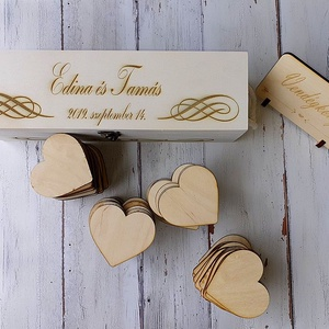 Esküvői vendégkönyv - szívek dobozban (floraldekor) - Meska.hu
