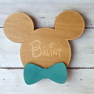 Mickey egér névtábla, Gyerek & játék, Gyerekszoba, Baba falikép, Famegmunkálás, A természetes hatást a szobába csempésző natúr fa és a letisztult, pasztell színek jellemzik az álta..., Meska