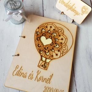 Esküvői vendégkönyv gravírozott fa fedlappal (floraldekor) - Meska.hu