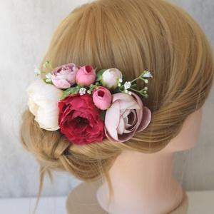 Virágos hajdísz, hajfésű alkalmakra, Esküvő, Hajdísz, ruhadísz, Táska, Divat & Szépség, Ruha, divat, Virágkötés, Minőségi selyemvirágok felhasználásával készült ez a hajdísz, bordó, krém, pasztel lila rózsák, fehé..., Meska