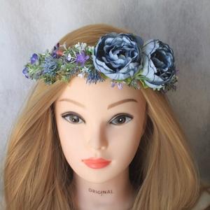Pasztel kék virágos fejkoszorú, hajdísz  (FlorallyArt) - Meska.hu
