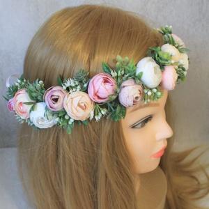 Virágkoszorú, fejkoszorú, hajdísz , Táska, Divat & Szépség, Esküvő, Hajdísz, ruhadísz, Ruha, divat, Virágkötés, Sok kis apró fehér, színátmenetes, pasztel rózsaszín, barack selyemvirág, hamvas zöld levelek, rezgő..., Meska
