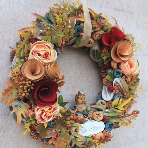 Ajtódísz, kopogtató, őszi koszorú 28cm (FlorallyArt) - Meska.hu