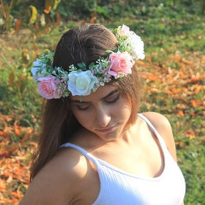 Virágos fejkoszorú, virágkoszorú, hajdísz fotózásra  (FlorallyArt) - Meska.hu