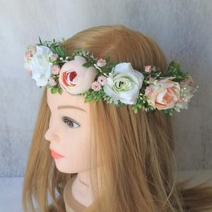 Virágkoszorú, fejkoszorú, hajdísz , Táska, Divat & Szépség, Esküvő, Hajdísz, ruhadísz, Ruha, divat, Virágkötés, Fehér és pasztel barack-rózsaszínű prémium minőségű selyemvirágokból készült ez a romantikus virágko..., Meska